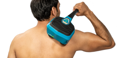 The Lithium2 weighs 3.5lbs and delivers a strong massage, just under its own weight. No need to add any pressure or to dig into the muscle with this massager.